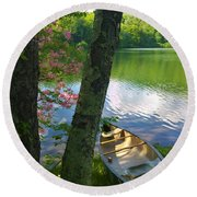 Canoe On Pond, Catskills Round Beach Towel