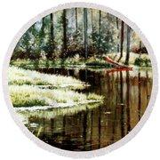 Canoe On Pond Round Beach Towel