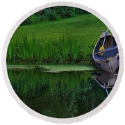 Canoe Reflection Round Beach Towel