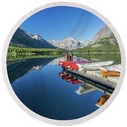 Canoe Reflections Round Beach Towel by Alpha Wanderlust