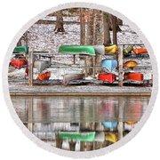 Canoe Reflections Round Beach Towel