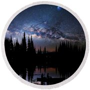 Canoeing - Milky Way - Night Scene Round Beach Towel