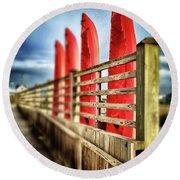 Canoes And Walkway, Surf City, North Carolina Round Beach Towel