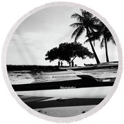 Round Beach Towel featuring the photograph Canoes by Kristine Merc