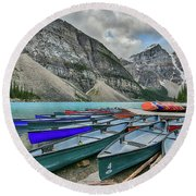 Canoes On Moraine Lake  Round Beach Towel