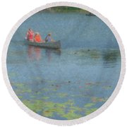 Canoes On Shovelshop Pond Round Beach Towel