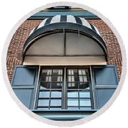 Round Beach Towel featuring the photograph Canopy And Reflection In Window by Gary Slawsky