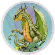 Cantaloupe Dragon Round Beach Towel by Stanley Morrison