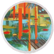 Round Beach Towel featuring the painting Cantaloupe Island by Erin Fickert-Rowland