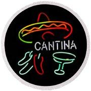 Cantina Neon Sign Round Beach Towel