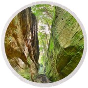 Cantwell Cliffs Trail Hocking Hills Ohio Round Beach Towel