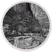 Round Beach Towel featuring the photograph Canyon Corner - Bw by Christopher Holmes