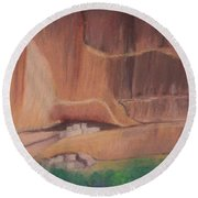 Canyon De Chelly Cliffdwellers #2 Round Beach Towel