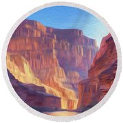 Canyon Light Round Beach Towel by Walter Colvin