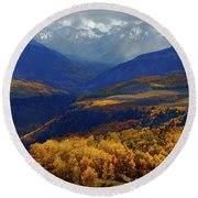 Round Beach Towel featuring the photograph Canyon Shadows And Light From Last Dollar Road In Colorado During Autumn by Jetson Nguyen