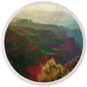 Canyon Silhouettes Round Beach Towel