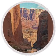 Canyon Walls Round Beach Towel by Walter Colvin