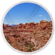 Canyonlands National Park - Big Spring Canyon Overlook Round Beach Towel by Brenda Jacobs