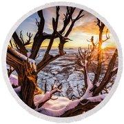 Canyonlands Winter Sunset Round Beach Towel