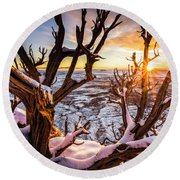 Canyonlands Winter Sunset Round Beach Towel