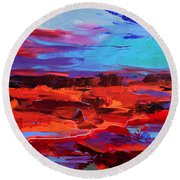 Canyon At Dusk - Art By Elise Palmigiani Round Beach Towel