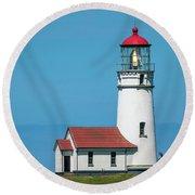 Cape Blanco Lighthouse At Cape Blanco, Oregon Round Beach Towel