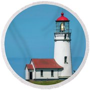 Cape Blanco Lighthouse At Cape Blanco, Oregon Round Beach Towel