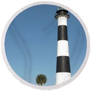 Cape Canaveral Lighthouse  Round Beach Towel
