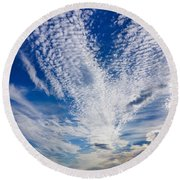 Round Beach Towel featuring the photograph Cape Clouds by Kendall McKernon