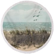 Cape Cod Beach Scene Round Beach Towel by Juli Scalzi