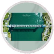 Round Beach Towel featuring the photograph Cape Cod Canal Railroad Bridge by Michael Hughes