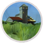 Life Saving Building On Cape Cod In 1978 Round Beach Towel