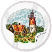 Cape Cod Lighthouse Round Beach Towel
