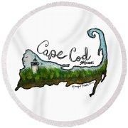Cape Cod, Mass. Round Beach Towel