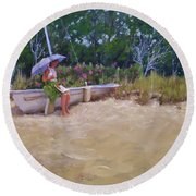 Round Beach Towel featuring the painting Cape Cod Weekend by Laura Lee Zanghetti