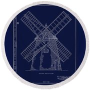 Round Beach Towel featuring the photograph Historic Cape Cod Windmill Blueprint by John Stephens