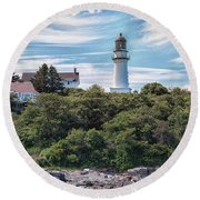 Cape Elizabeth Lighthouse Round Beach Towel