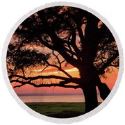 Cape Fear Sunset Overlook Round Beach Towel