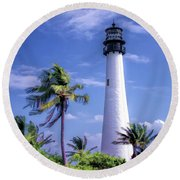 Round Beach Towel featuring the painting Cape Florida Lighthouse by Christopher Arndt