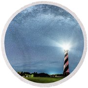 Cape Hatteras Light House Milky Way Panoramic Round Beach Towel