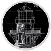 Cape Hatteras Lighthouse Engineering Drawing 1869 Round Beach Towel