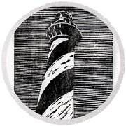 Round Beach Towel featuring the painting Cape Hatteras Lighthouse II by Ryan Fox