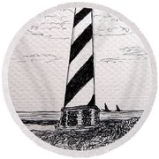 Cape Hatteras Lighthouse Nc Round Beach Towel