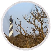 Cape Hatteras Lighthouse Through The Brush Round Beach Towel