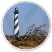Cape Hatteras Lighthouse With Driftwood Round Beach Towel