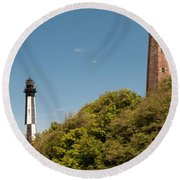 Cape Henry Lighthouses Old And New Round Beach Towel