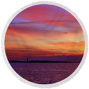 Cape Lookout Lighthouse At Sunrise Round Beach Towel