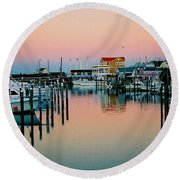 Round Beach Towel featuring the photograph Cape May After Glow by Steve Karol