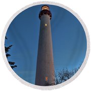 Round Beach Towel featuring the photograph Cape May Lighthouse In Evening by Kristia Adams