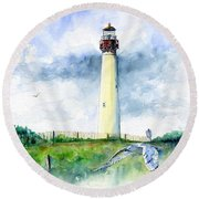 Cape May Lighthouse Round Beach Towel